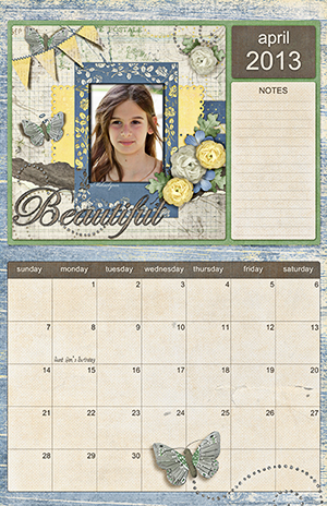 Calendar made by Becca Hauck using products by Jen Reed, available at Scrap Girls