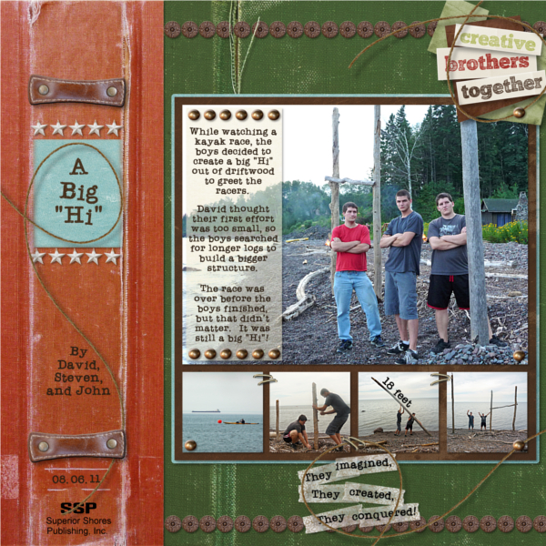 A digital scrapbooking layout showing storytelling
