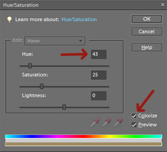 A screenshot in photoshop showing how to adjust hue and saturation
