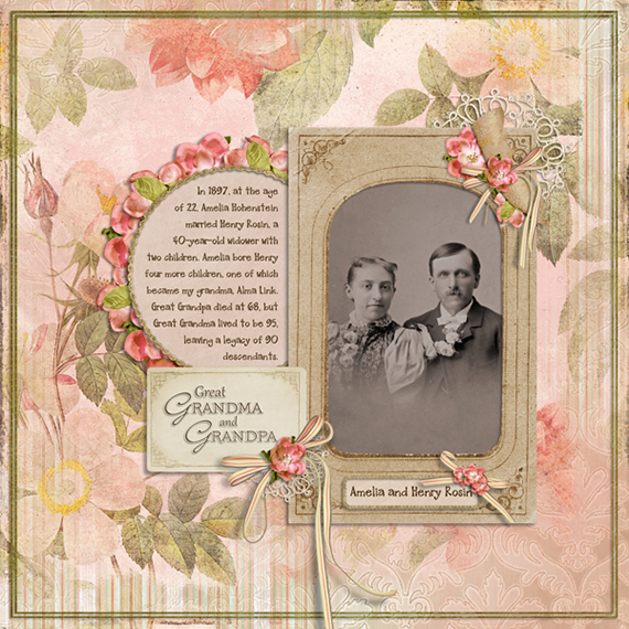 A digital scrapbooking layout featuring a recolored embellishment