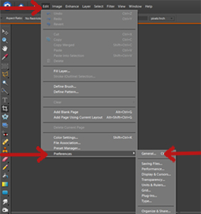 A screenshot showing how to edit preferences in Photoshop Elements
