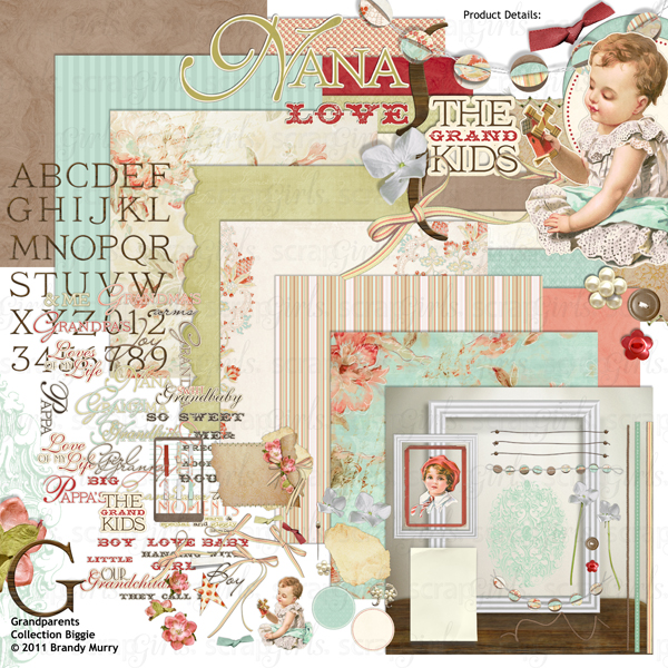 Grandparents digital scrapbooking kit