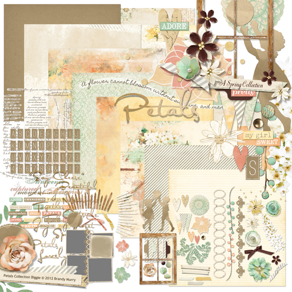 Petals digital scrapbooking kit