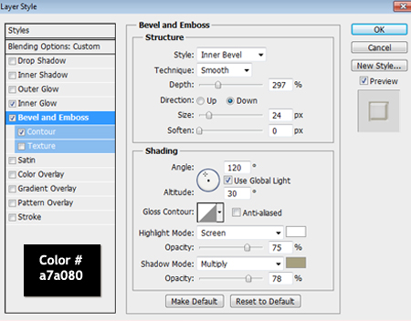 Bevel and Emboss Settings in Photoshop