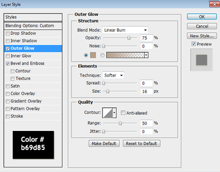 Text outer glow settings used in photoshop