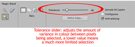 The tolerance slider adjusts the color