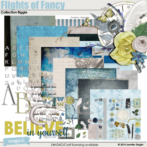Flights of Fancy digital scrapbooking kit
