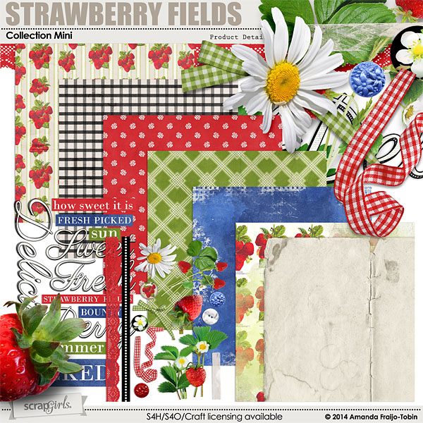 Strawberry Fields digital scrapbooking kit