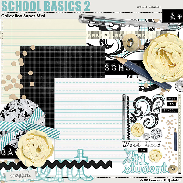 School Basics 2 - digital Embellishment Clusters
