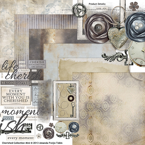 Cherished digital scrapbooking mini kit