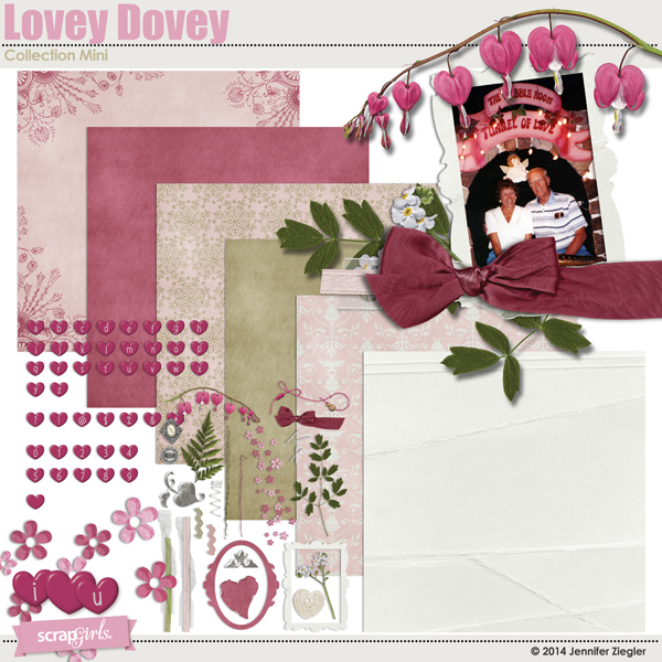 Lovey Dovey digital scrapbooking kit