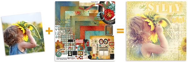 Digital Scrapbooking layout steps