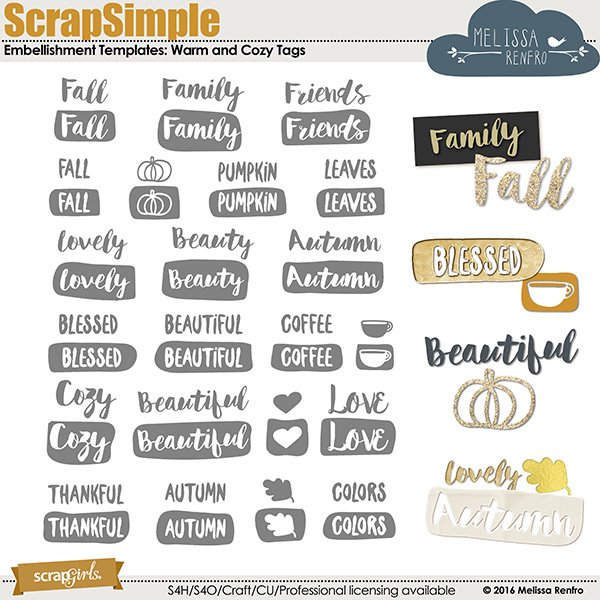 ScrapSimple Embellishments Word Art Tags: Warm and Cozy