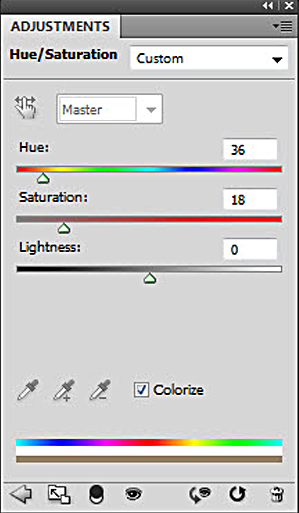 Click colorize in hue saturation slider to get sepia tones