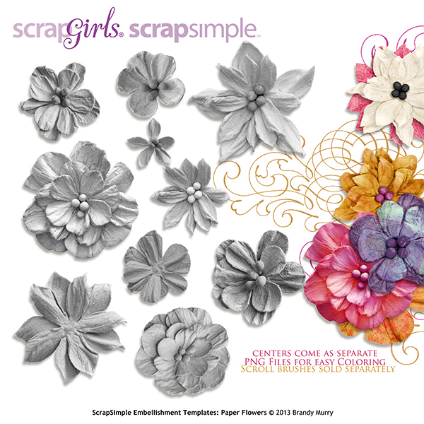 Embellishment Template Paper Flowers