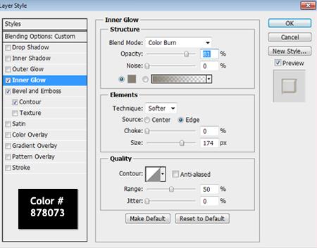 Inner Glow Settings Used in Photoshop