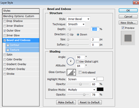 Text Bevel and Emboss Settings Used in Photoshop