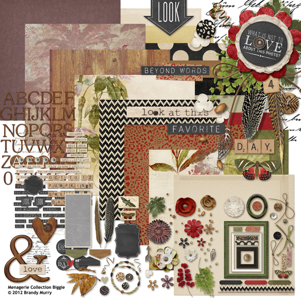 Menagerie digital scrapbooking kit