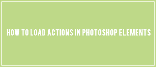 Loading Actions in Photoshop Elements - Intro Banner