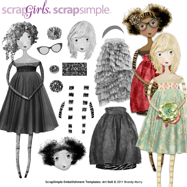 ScrapSimple Embellishment Templates: Art Doll