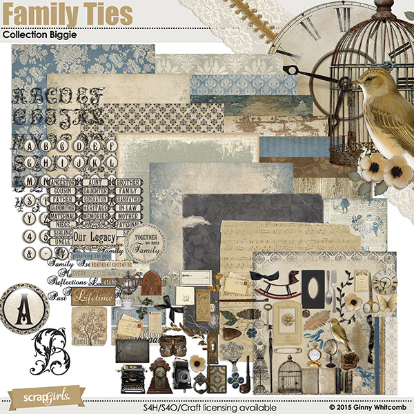 Family Ties digital scrapbooking kit