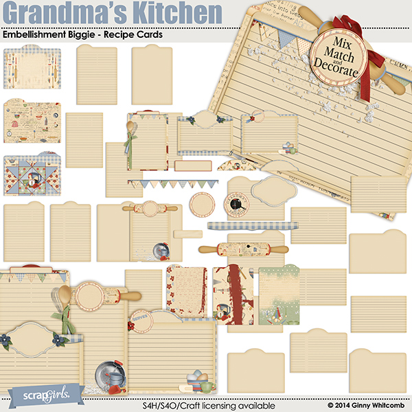 Grandma's Kitchen Embellishment Biggie - Recipe Cards