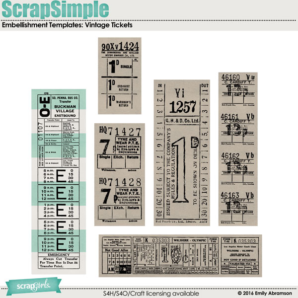 ScrapSimple Vintage Tickets MKTG 600