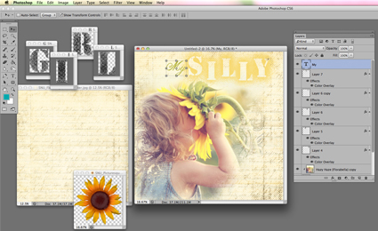 desktop with photoshop and digital layout in process