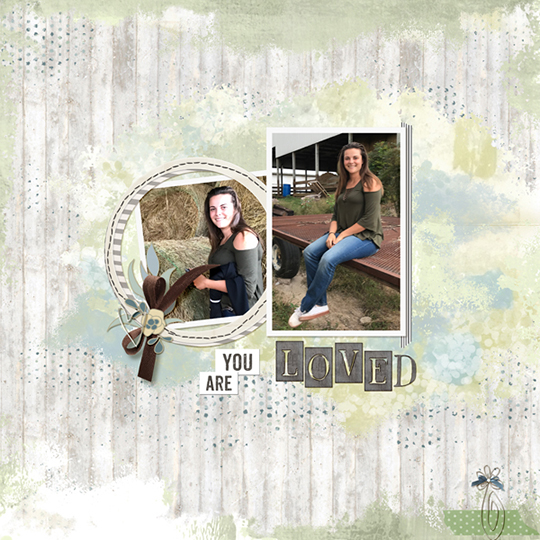 A digital scrapbooking page featuring Farmhouse