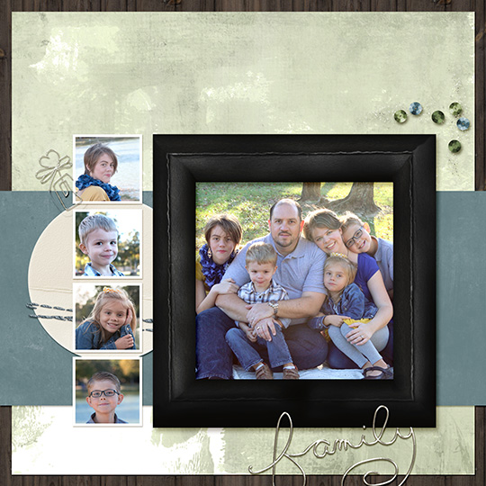 Finished digital scrapbooking layout with realistic paper clip