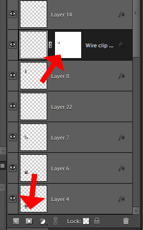 Photoshop screen showing how to add a mask to layer
