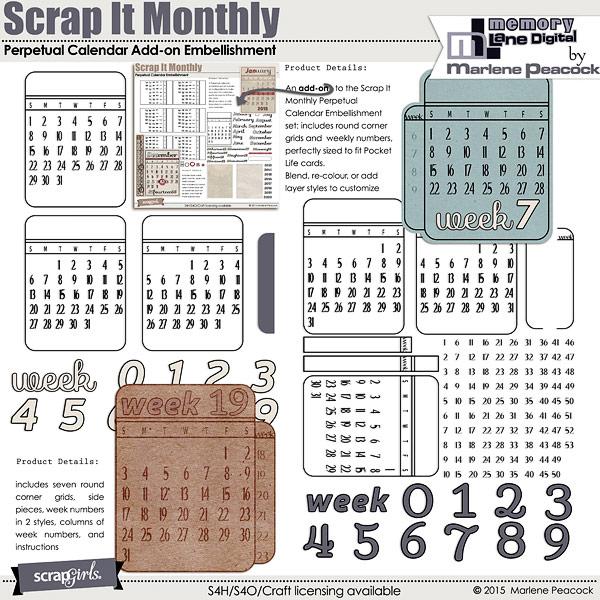 Scrap It Monthly Calendar Cards